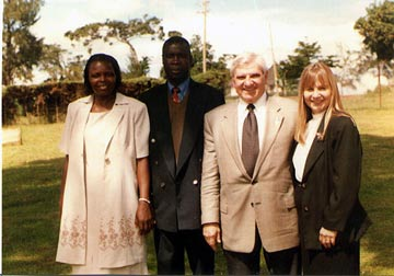 Christine and Joseph Olanya with Tony and Carolyn Kambich in Uganda